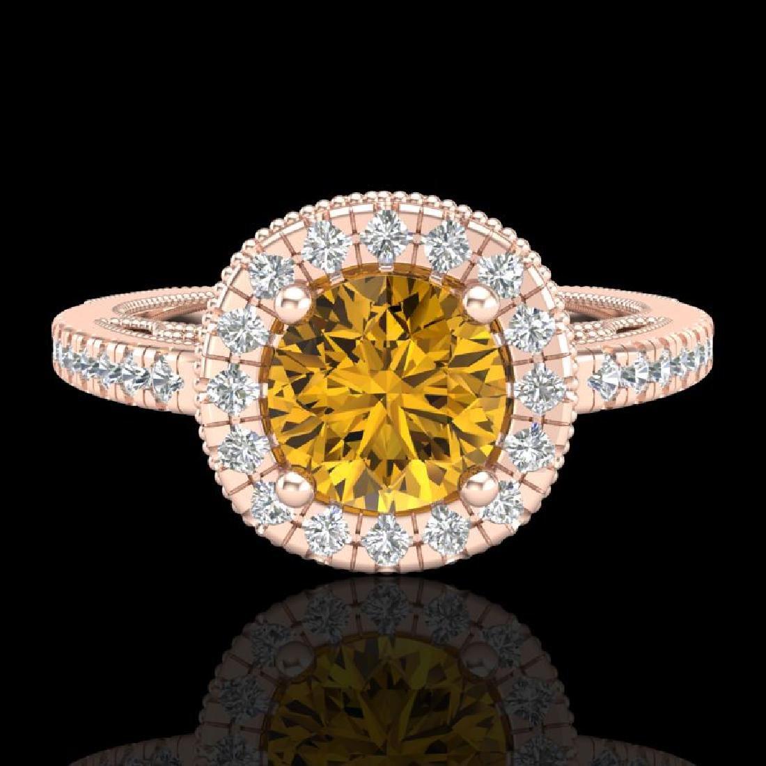 1.55 CTW Intense Fancy Yellow Diamond Engagement Art - 2