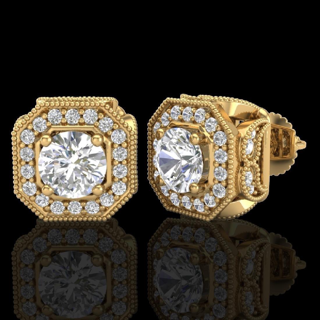2.75 CTW VS/SI Diamond Solitaire Art Deco Stud Earrings - 2