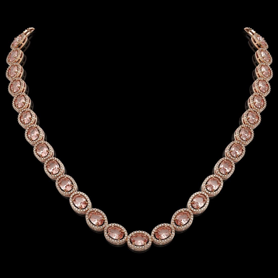45.98 CTW Morganite & Diamond Halo Necklace 10K Rose