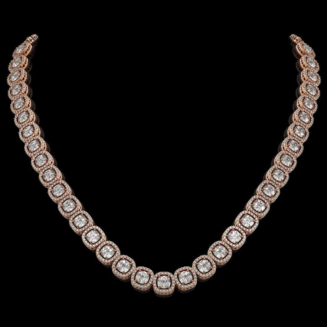 32.64 CTW Cushion Diamond Designer Necklace 18K Rose
