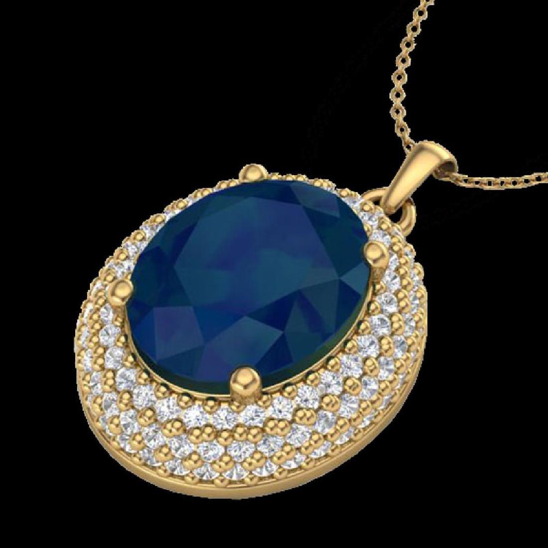 4.50 CTW Sapphire & Micro Pave VS/SI Diamond Necklace - 2
