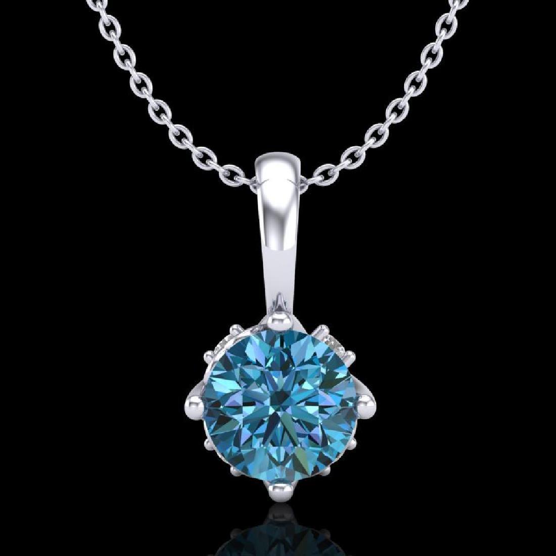 0.62 CTW Fancy Intense Blue Diamond Solitaire Art Deco