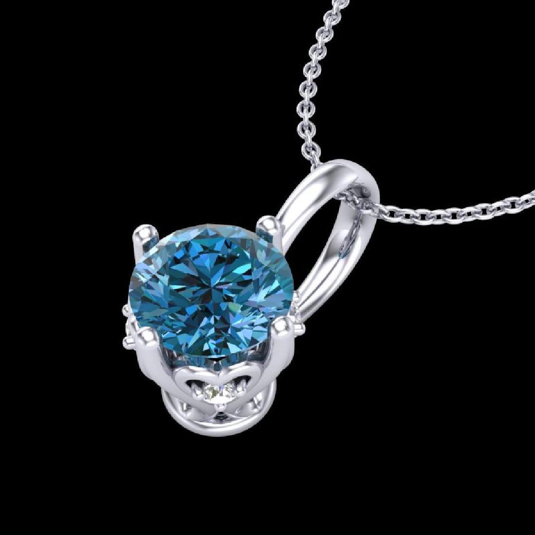 0.62 CTW Fancy Intense Blue Diamond Solitaire Art Deco - 2