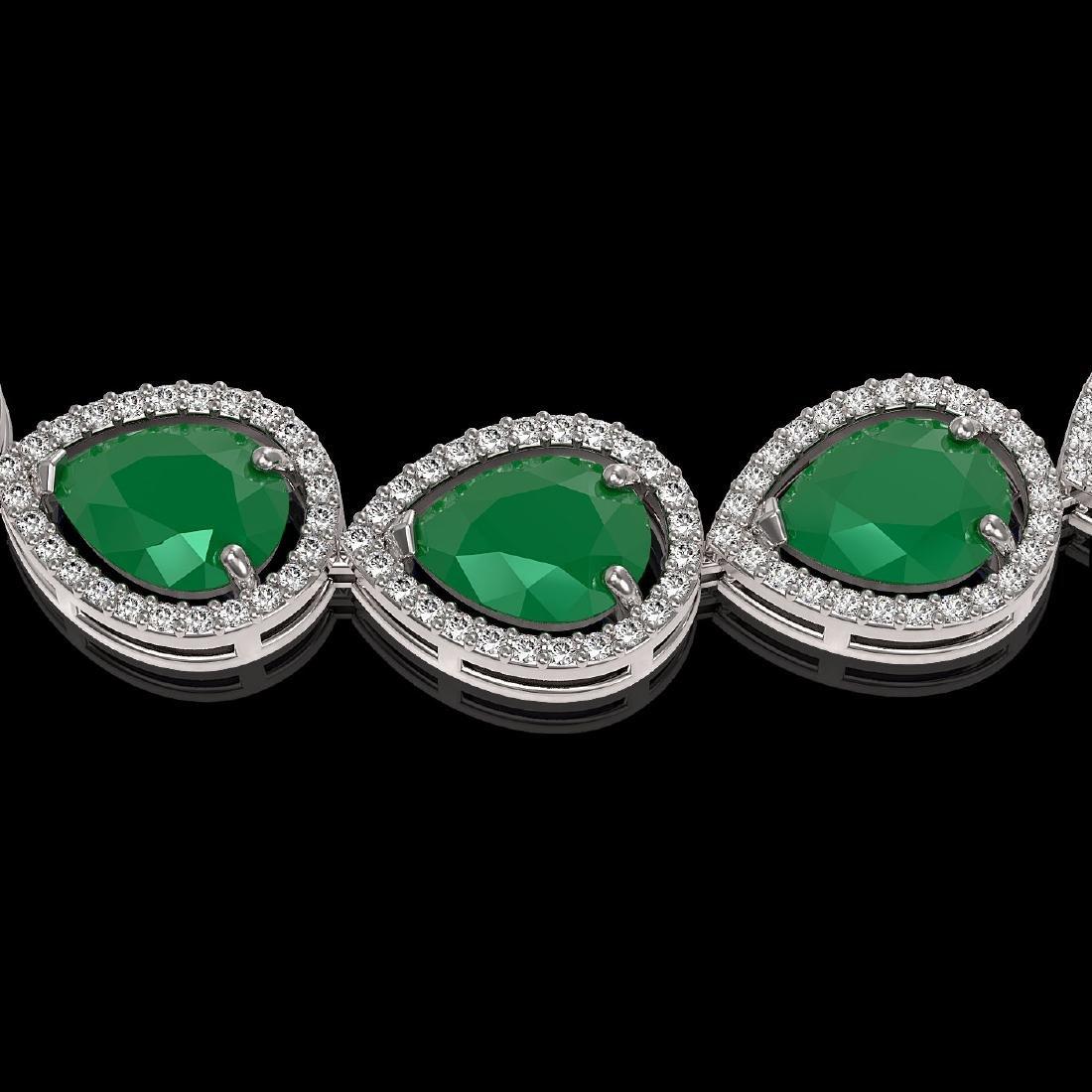 64.01 CTW Emerald & Diamond Halo Necklace 10K White - 3