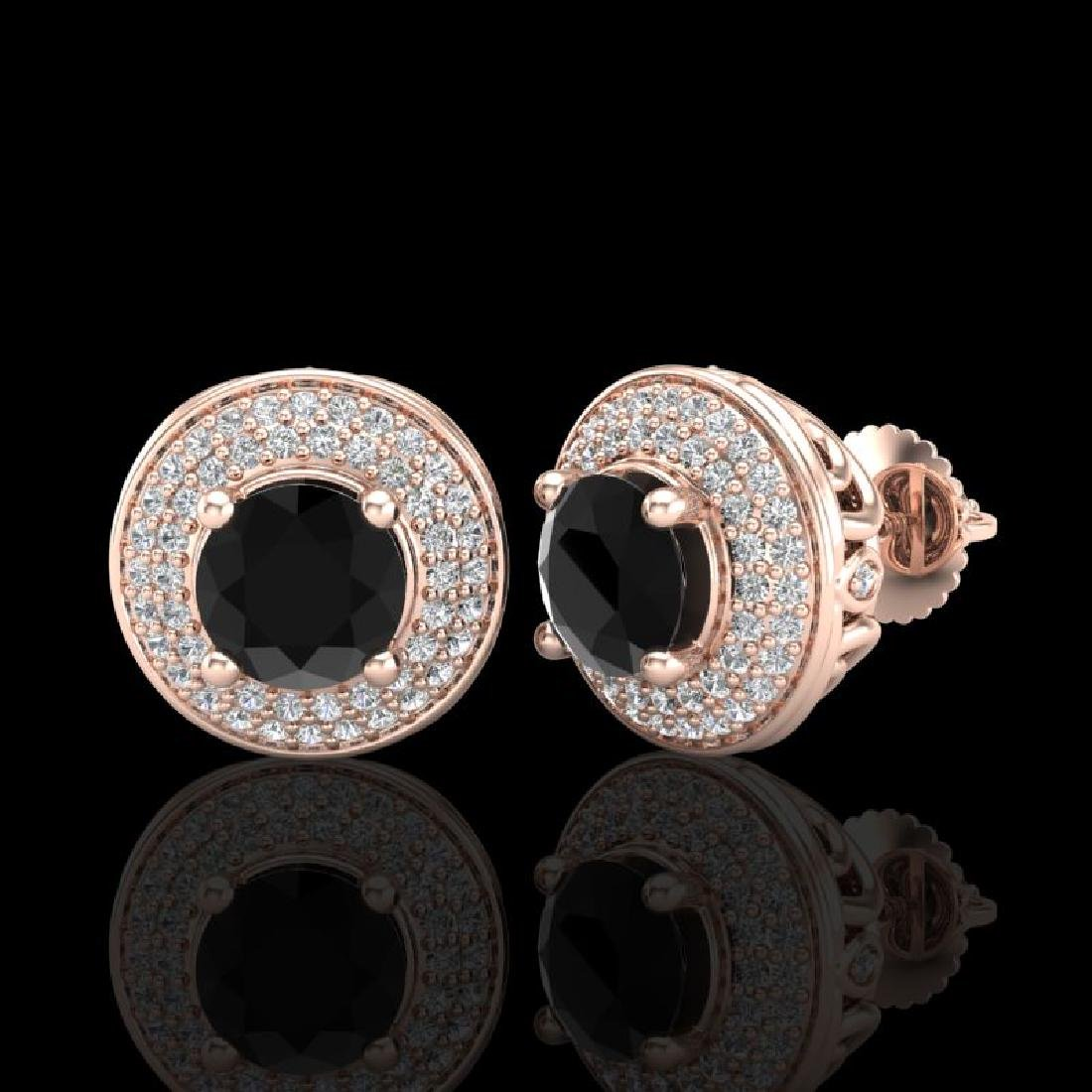 2.35 CTW Fancy Black Diamond Solitaire Art Deco Stud - 2