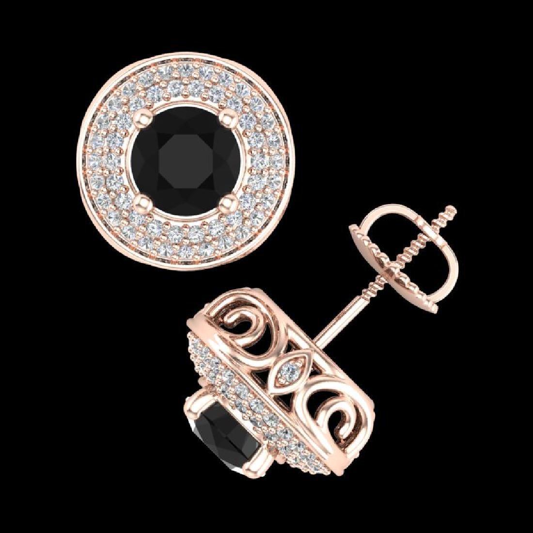 2.35 CTW Fancy Black Diamond Solitaire Art Deco Stud - 3