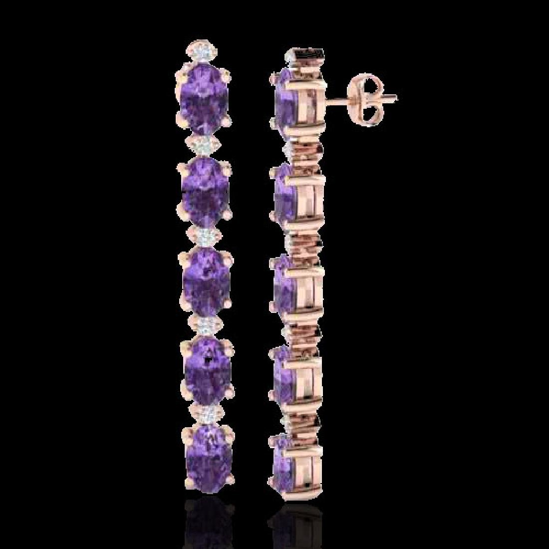 6 CTW Amethyst & VS/SI Diamond Tennis Earrings 10K Rose - 2
