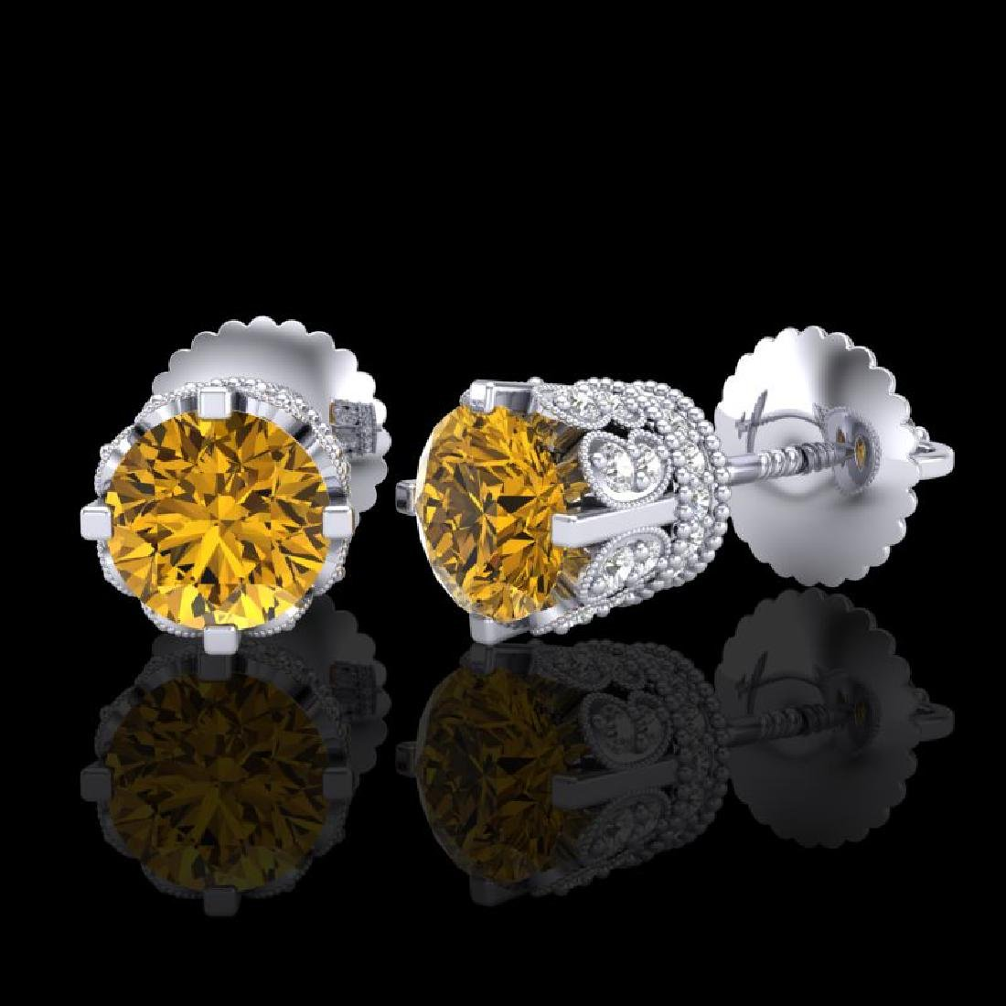 1.75 CTW Intense Fancy Yellow Diamond Art Deco Stud - 2
