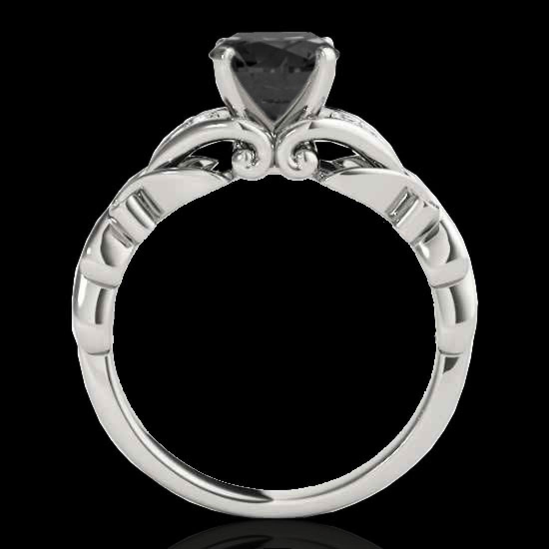 1.1 CTW Certified VS Black Diamond Solitaire Ring 10K - 2