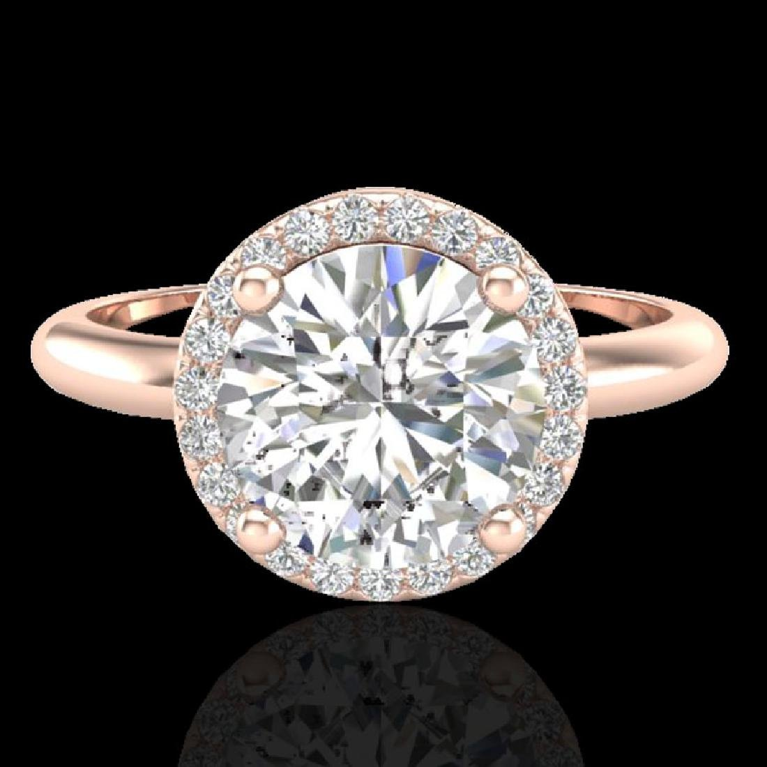 2 CTW Micro Pave VS/SI Diamond Ring Designer Halo 14K
