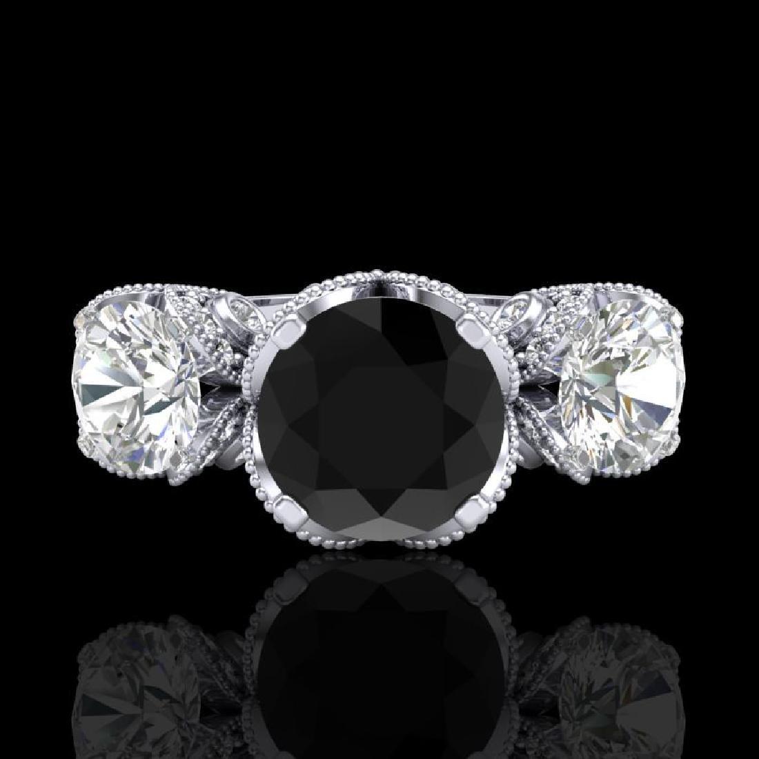 3 CTW Fancy Black Diamond Solitaire Art Deco 3 Stone - 2