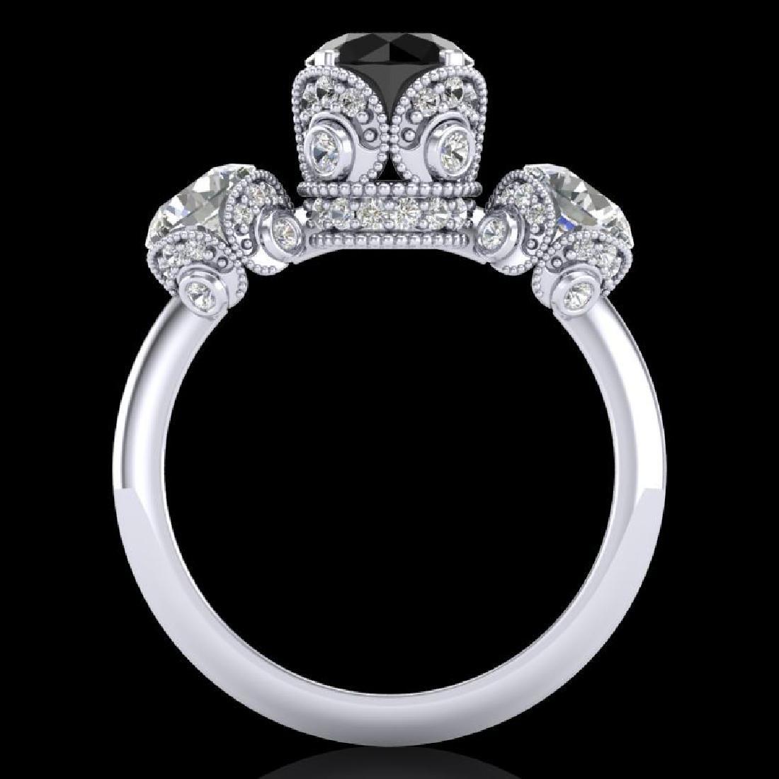 3 CTW Fancy Black Diamond Solitaire Art Deco 3 Stone - 3