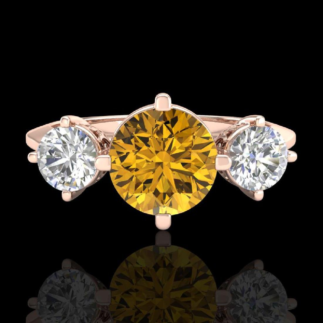 1.51 CTW Intense Fancy Yellow Diamond Art Deco 3 Stone - 2