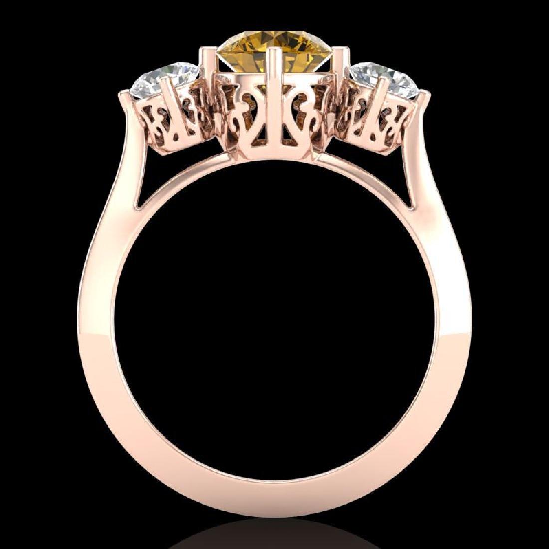 1.51 CTW Intense Fancy Yellow Diamond Art Deco 3 Stone - 3