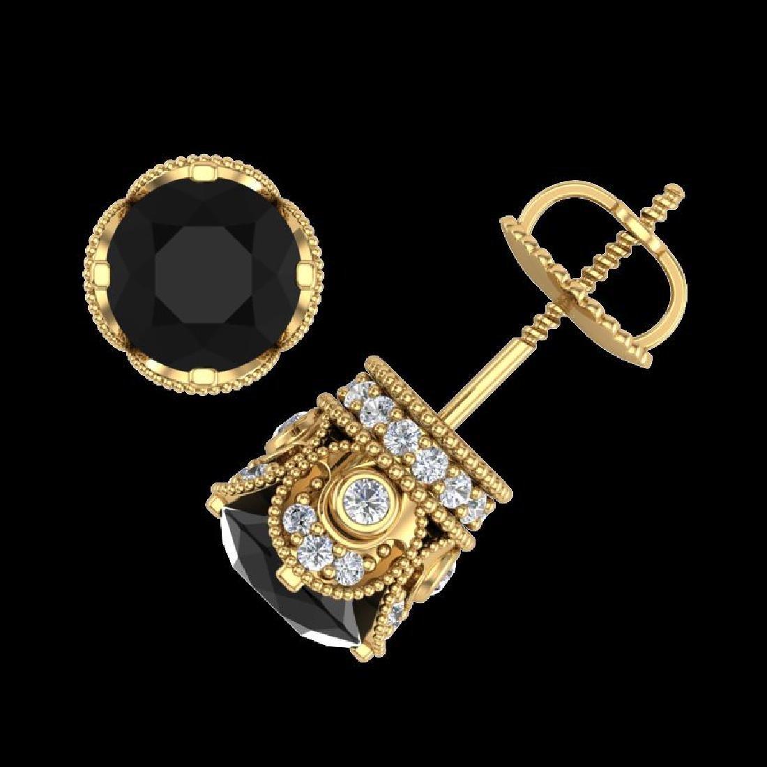 3 CTW Fancy Black Diamond Solitaire Art Deco Stud - 3
