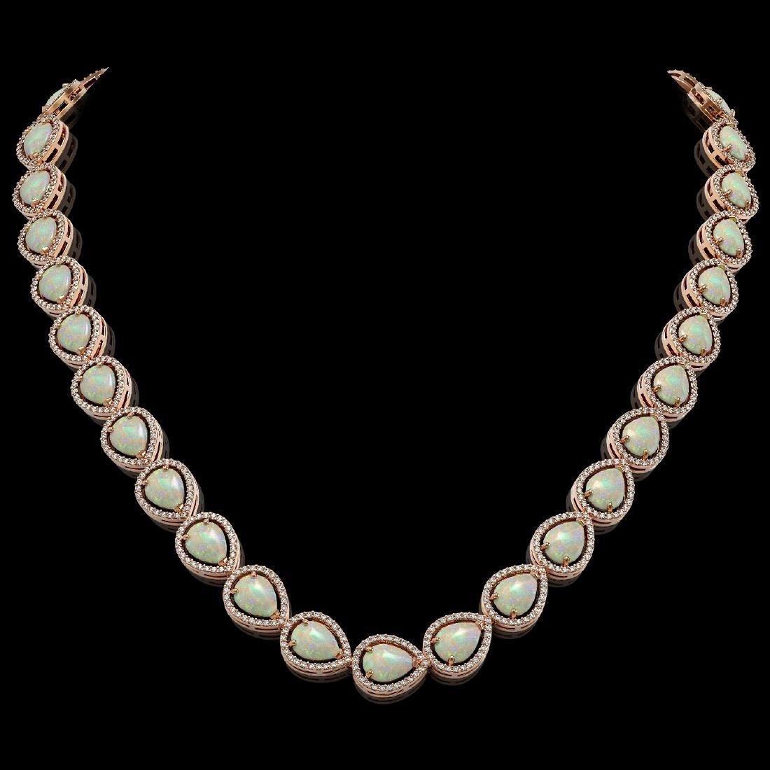 36.48 CTW Opal & Diamond Halo Necklace 10K Rose Gold