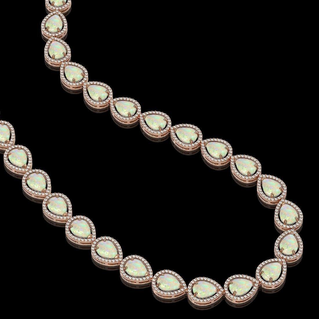 36.48 CTW Opal & Diamond Halo Necklace 10K Rose Gold - 2
