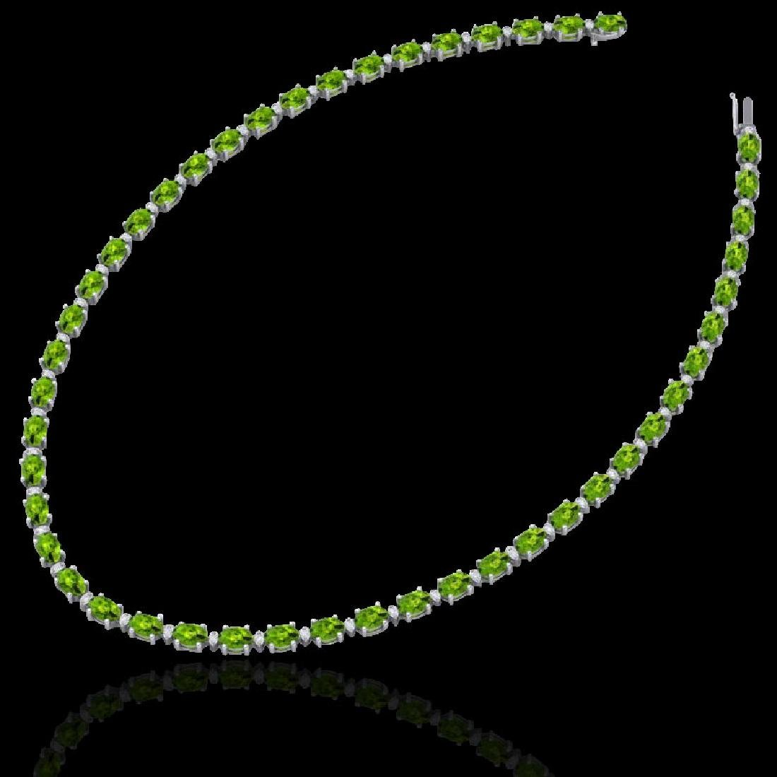 61.85 CTW Peridot & VS/SI Certified Diamond Necklace - 2