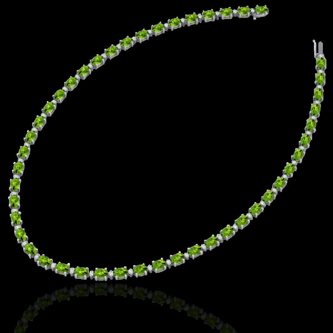 61.85 CTW Peridot & VS/SI Certified Diamond Necklace - 2