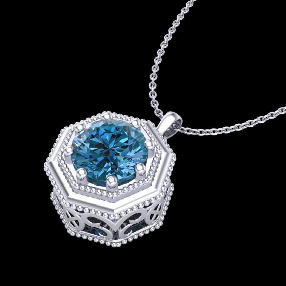 0.75 CTW Fancy Intense Blue Diamond Solitaire Art Deco - 2