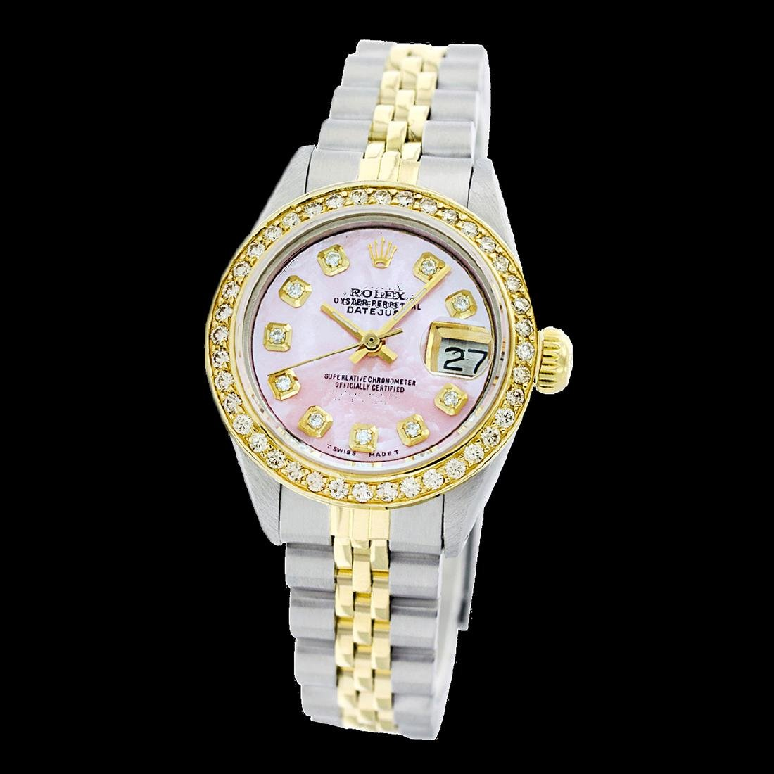 Rolex Ladies Two Tone 14K Gold/SS, Diamond Dial, - 2