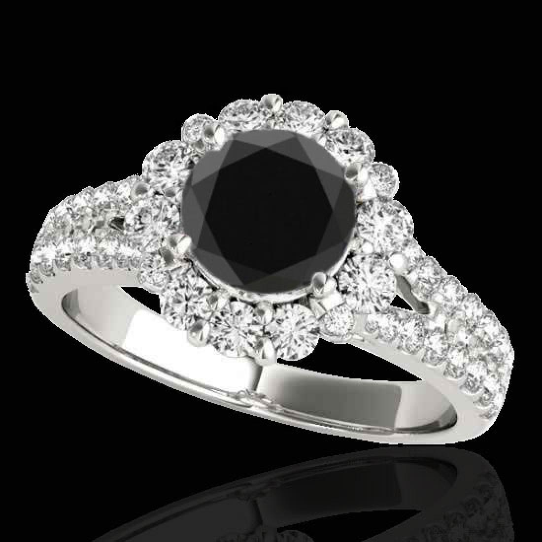 2.51 CTW Certified VS Black Diamond Solitaire Halo Ring