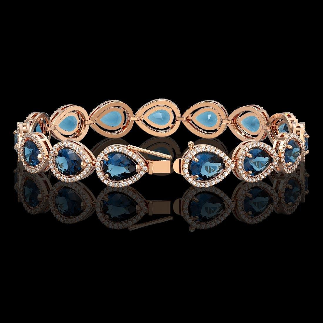 21.06 CTW London Topaz & Diamond Halo Bracelet 10K Rose - 2