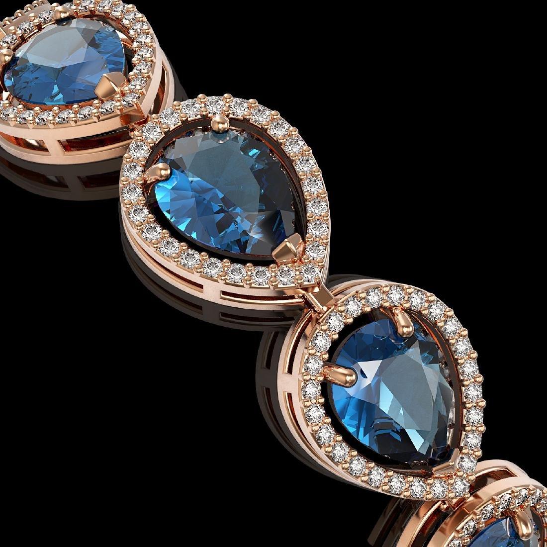 21.06 CTW London Topaz & Diamond Halo Bracelet 10K Rose - 3