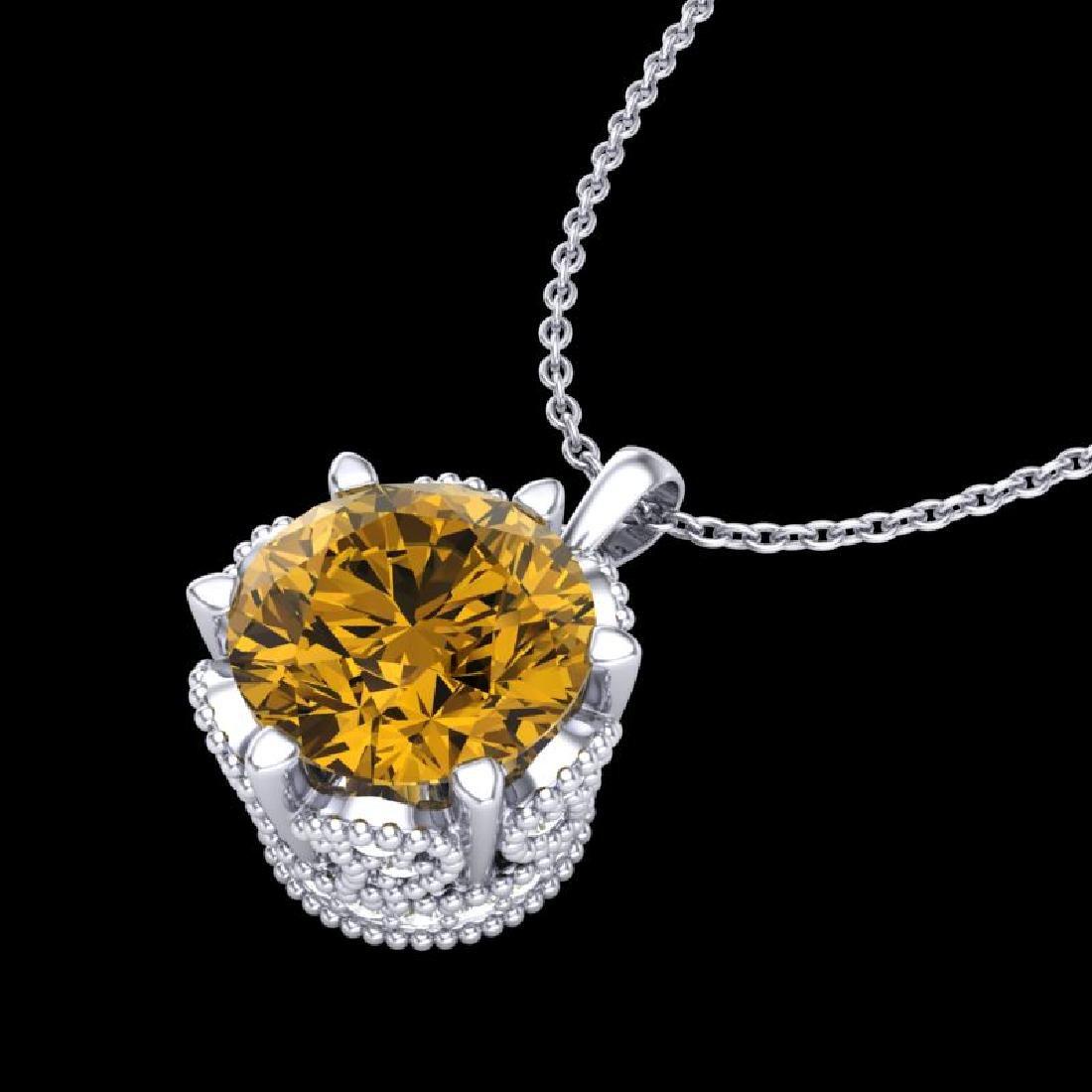 1.36 CTW Intense Fancy Yellow Diamond Art Deco Stud - 2