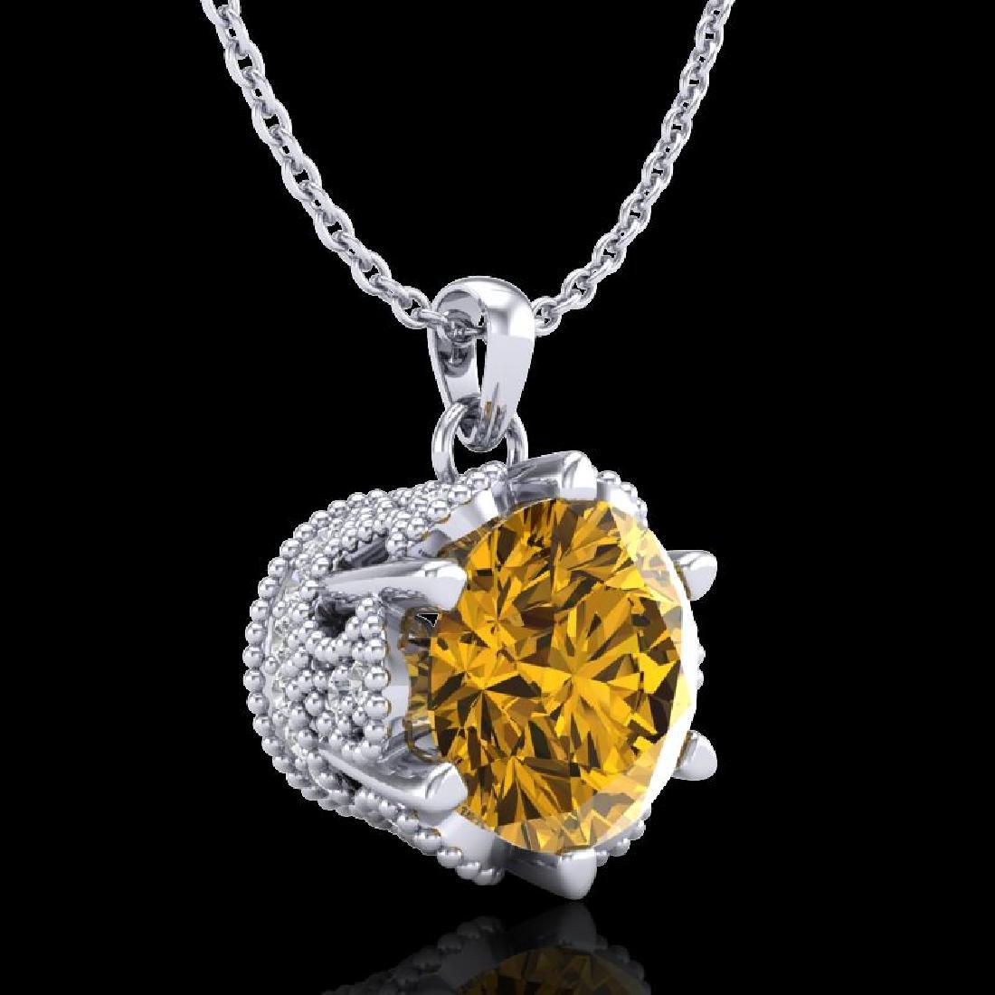 1.36 CTW Intense Fancy Yellow Diamond Art Deco Stud - 3