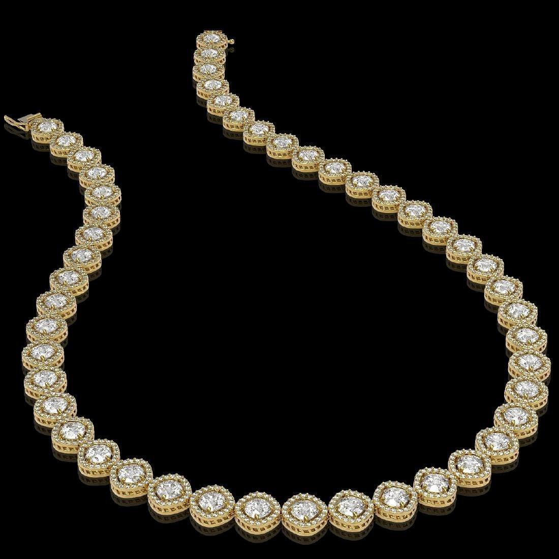 29.37 CTW Cushion Cut Diamond Designer Necklace 18K - 2