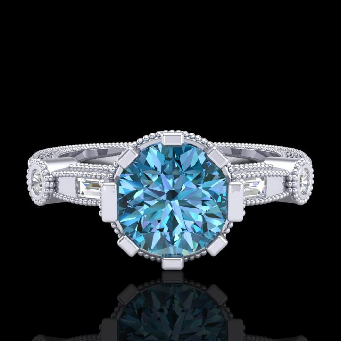 1.71 CTW Fancy Intense Blue Diamond Solitaire Art Deco - 2