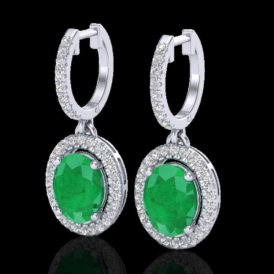 4.25 CTW Emerald & Micro Pave VS/SI Diamond Earrings