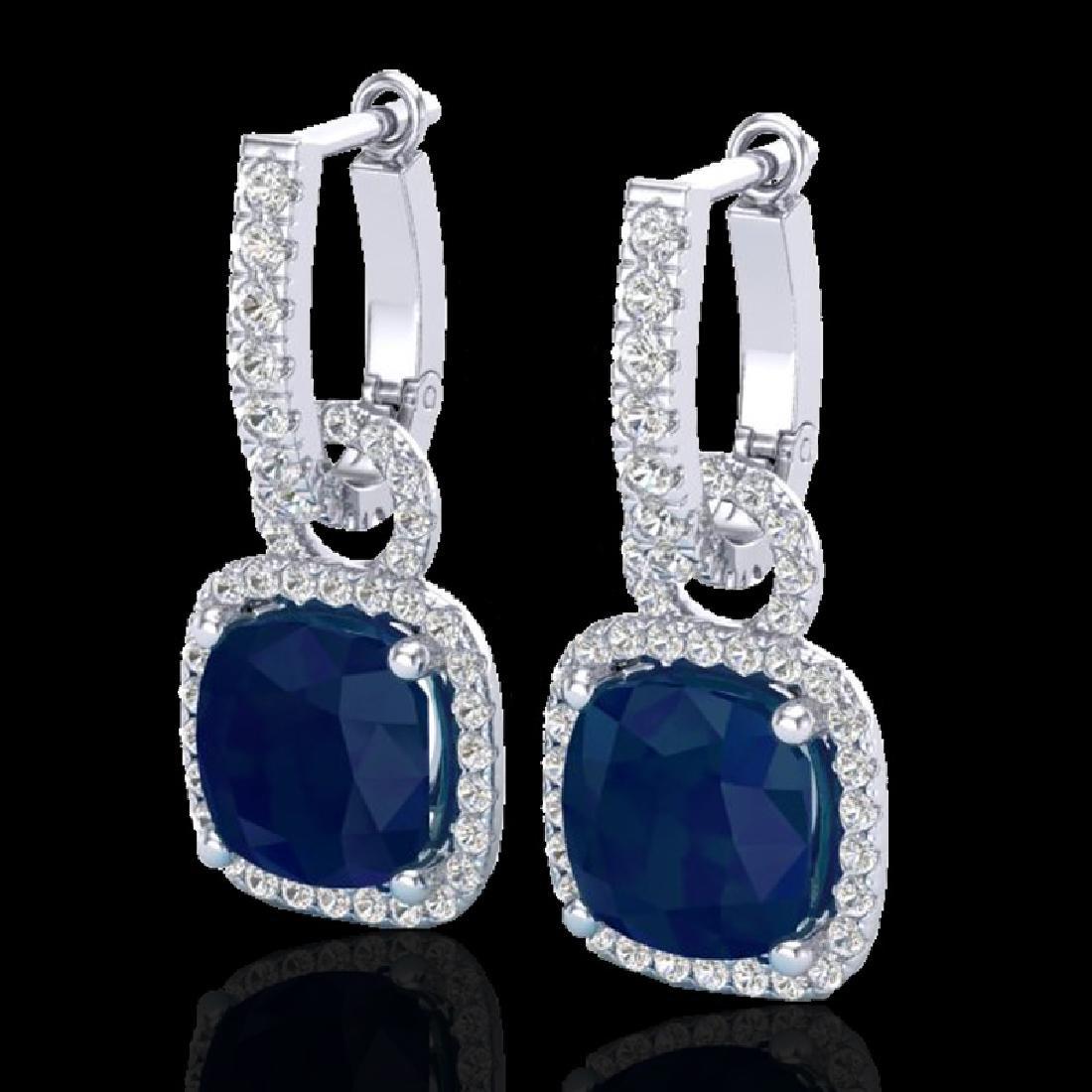 6 CTW Sapphire & Micro Pave VS/SI Diamond Earrings 18K
