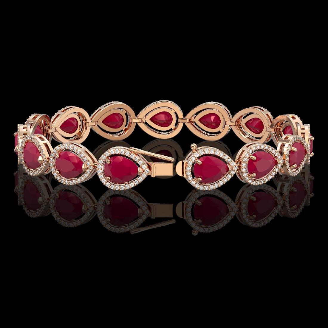 30.06 CTW Ruby & Diamond Halo Bracelet 10K Rose Gold - 2