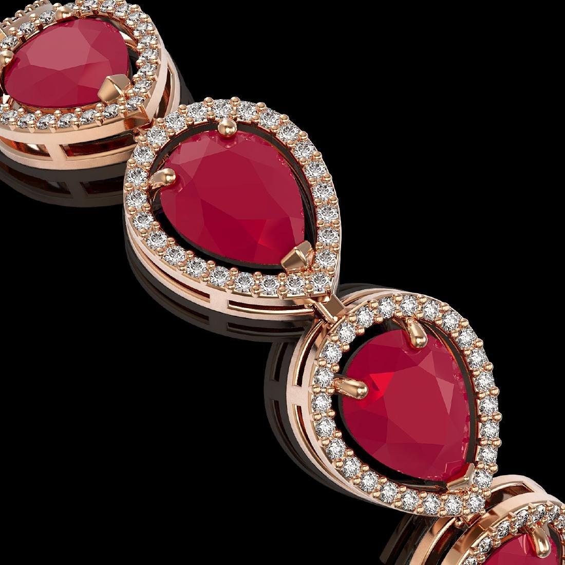 30.06 CTW Ruby & Diamond Halo Bracelet 10K Rose Gold - 3