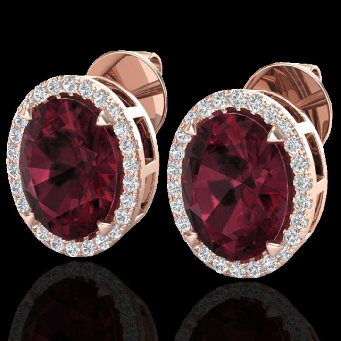 5.50 CTW Garnet & Micro VS/SI Diamond Halo Earrings 14K