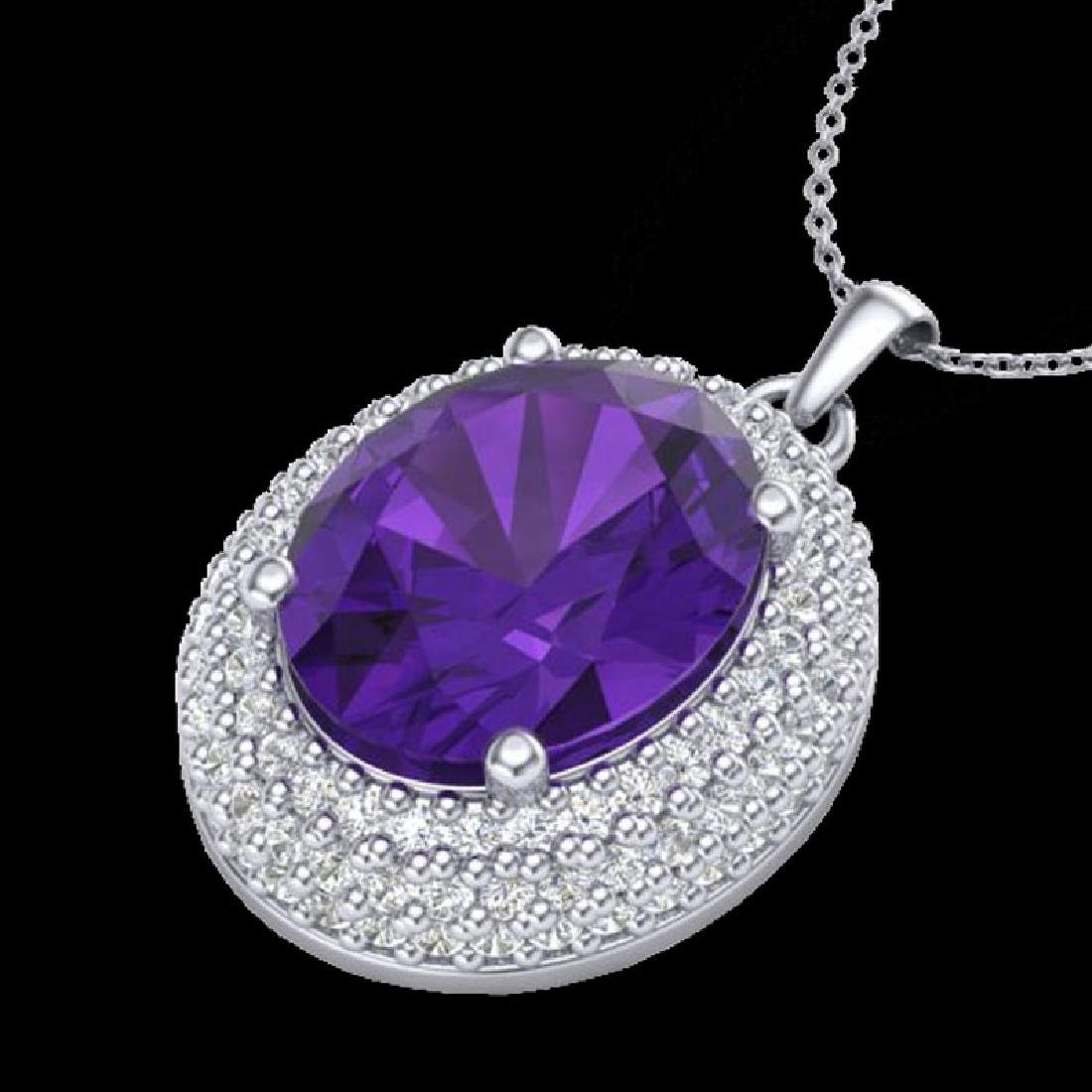 4 CTW Amethyst & Micro Pave VS/SI Diamond Necklace 18K - 2