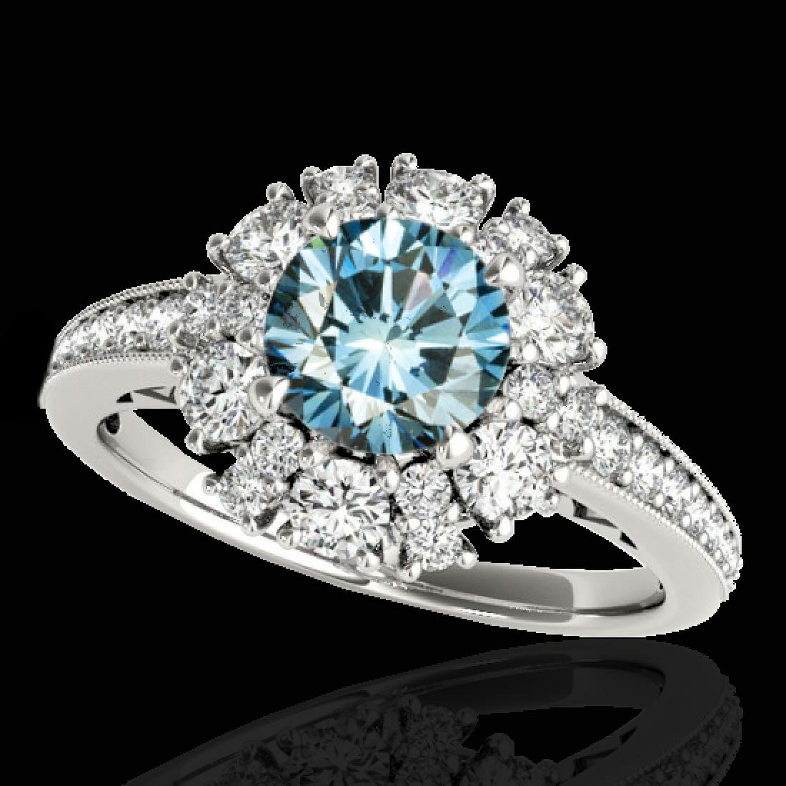 2.16 CTW SI Certified Fancy Blue Diamond Solitaire Halo