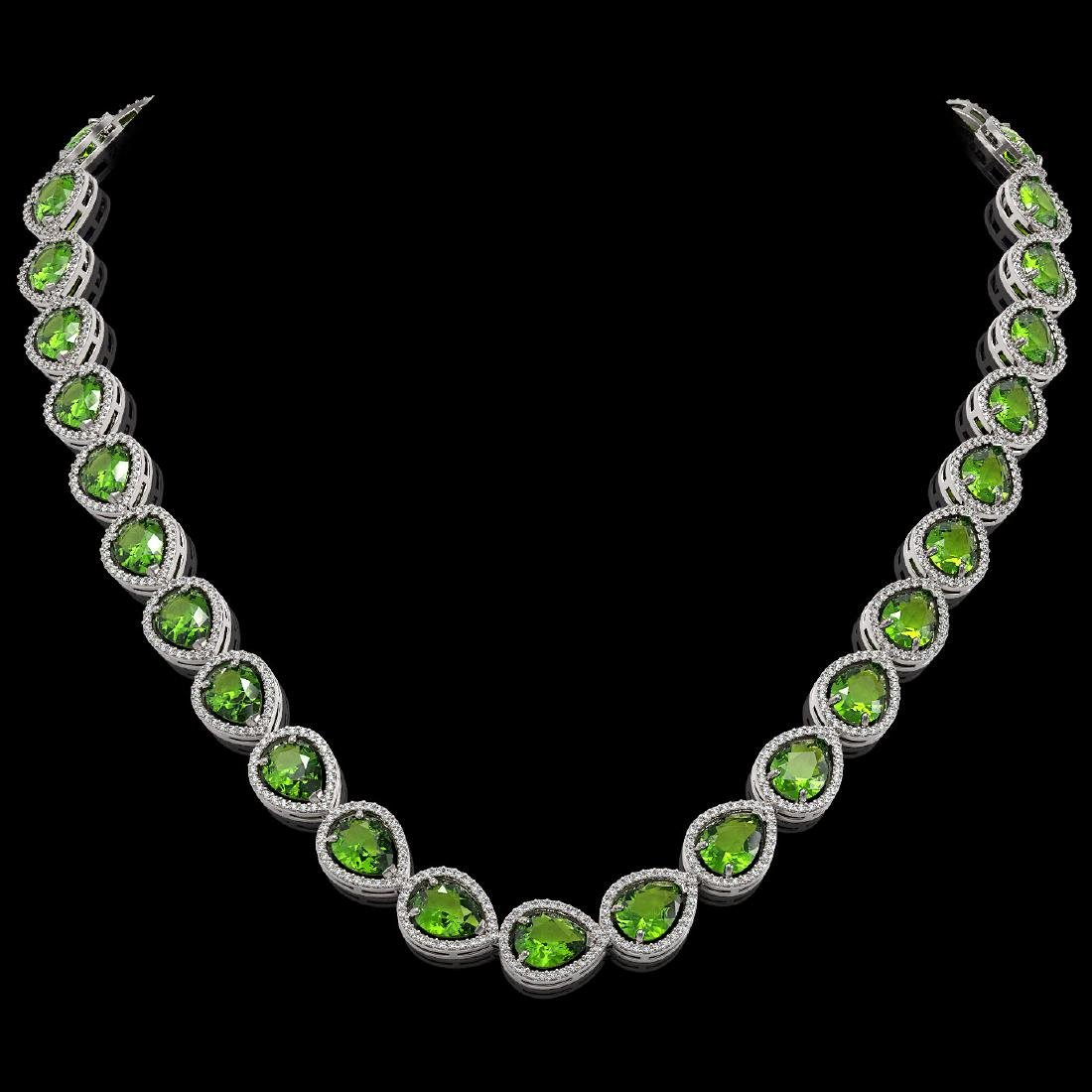 33.6 CTW Peridot & Diamond Halo Necklace 10K White Gold