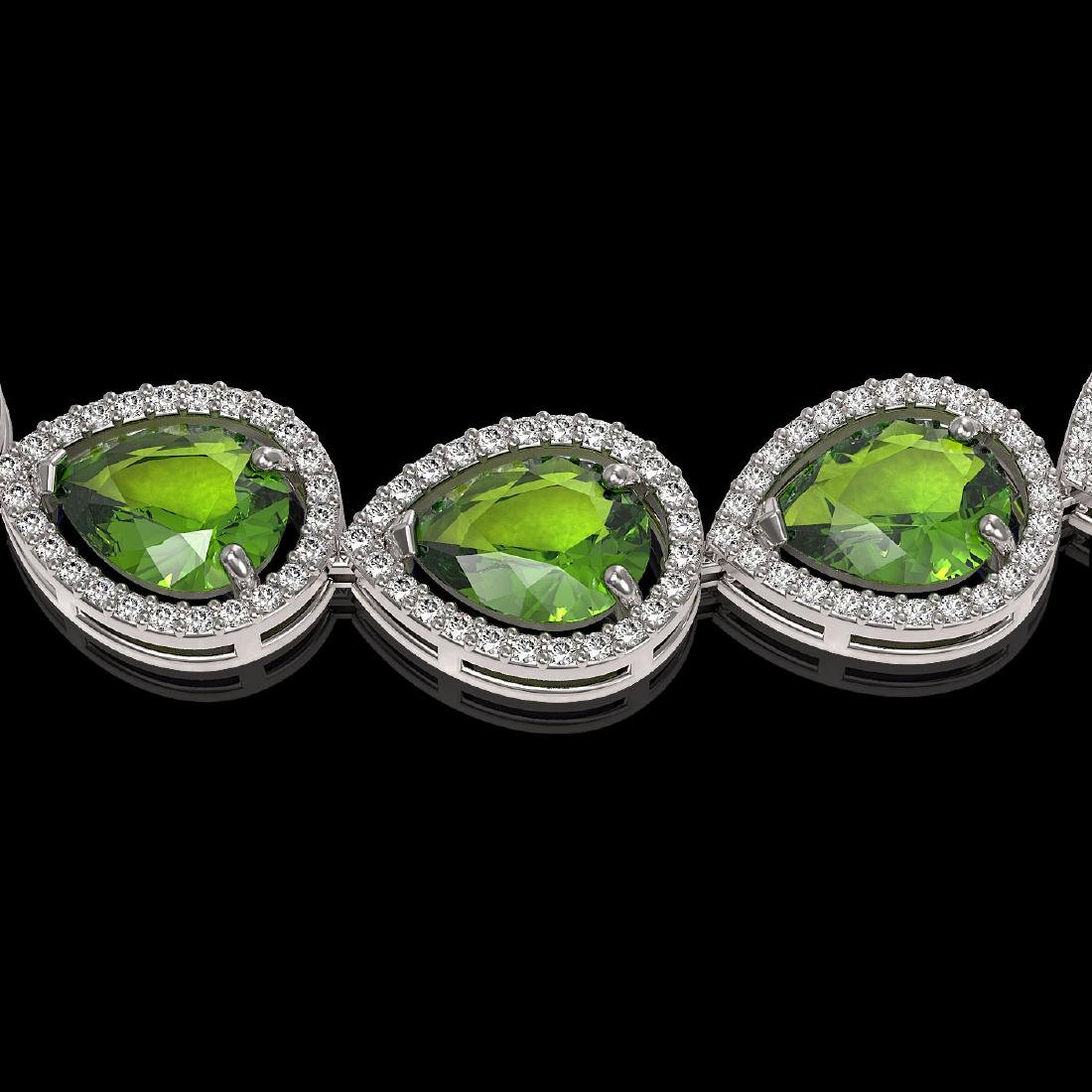 33.6 CTW Peridot & Diamond Halo Necklace 10K White Gold - 3