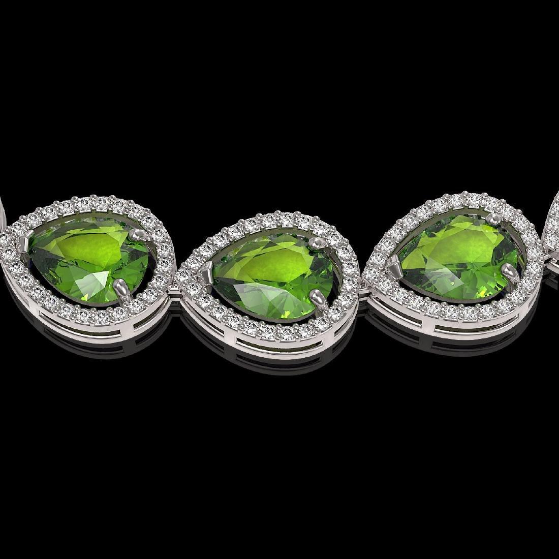33.6 CTW Peridot & Diamond Halo Necklace 10K White Gold - 3