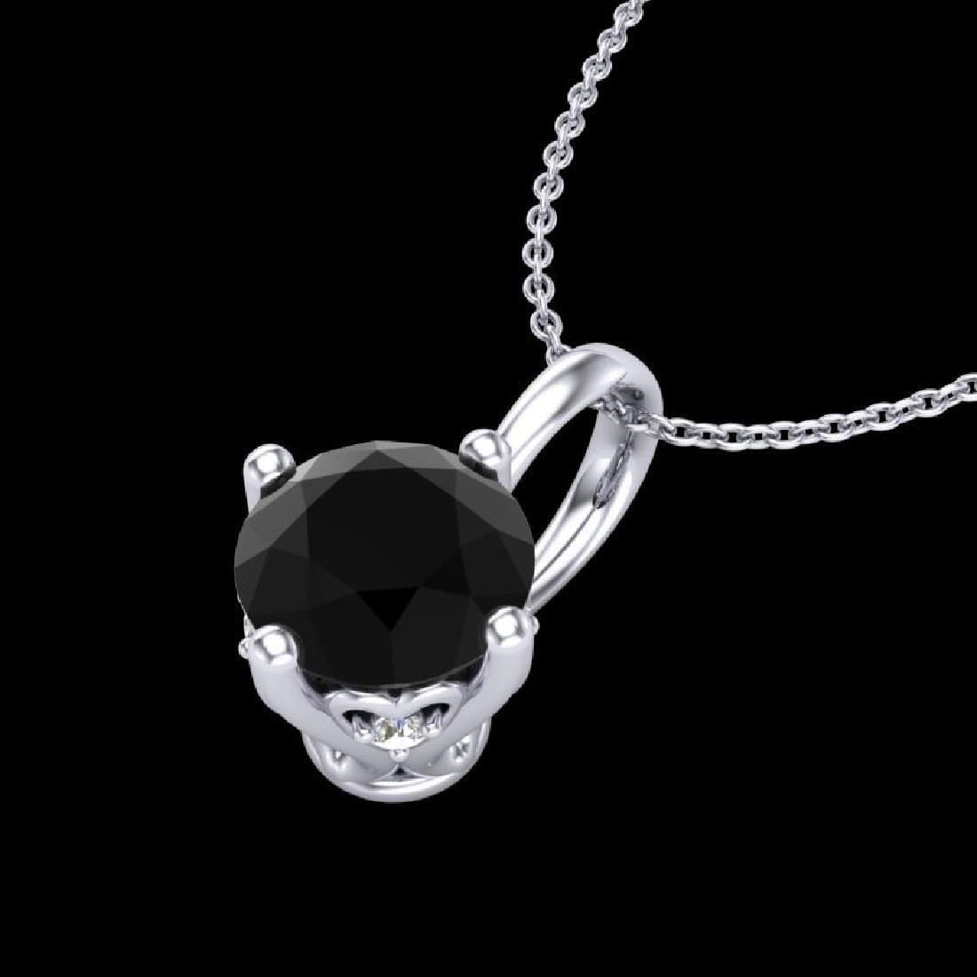 0.82 CTW Fancy Black Diamond Solitaire Art Deco Stud - 2