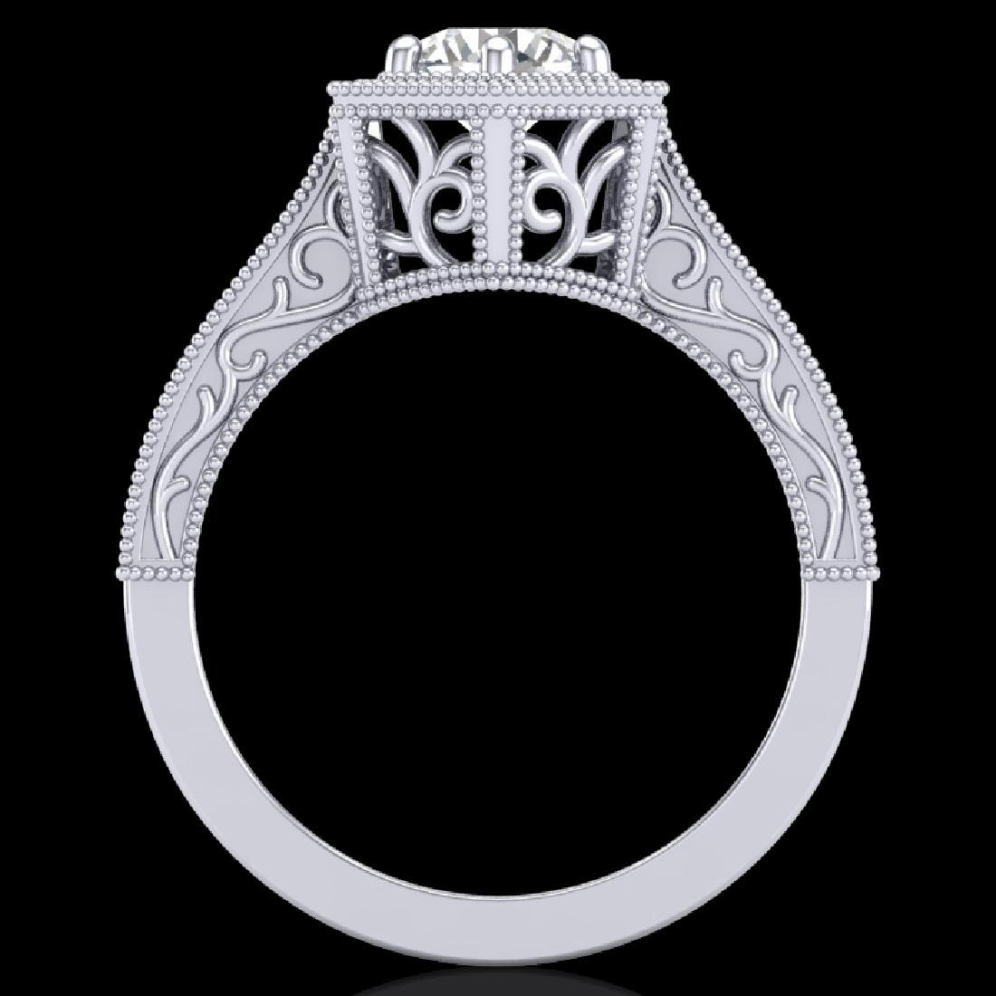 0.77 CTW VS/SI Diamond Art Deco Ring 18K White Gold