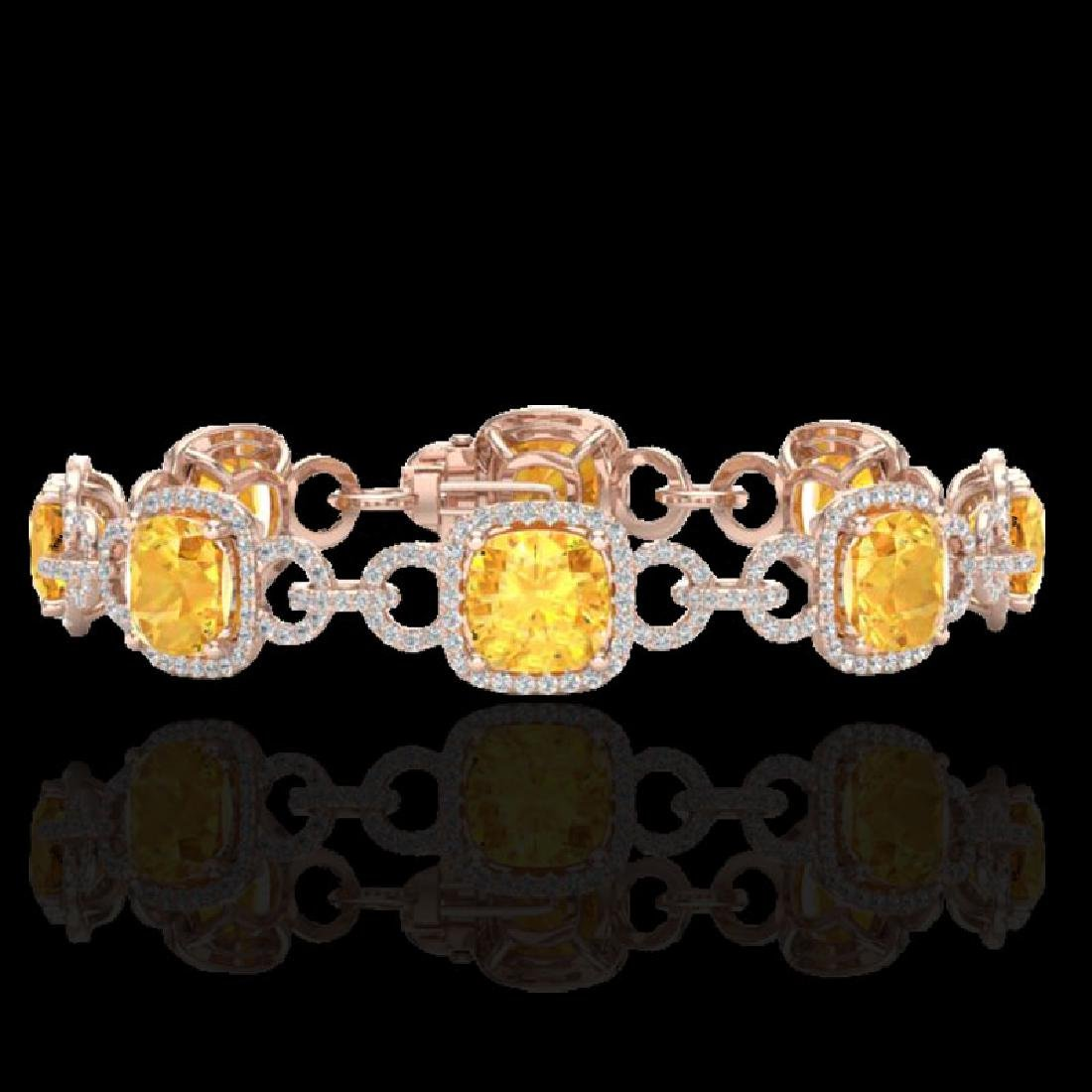 30 CTW Citrine & Micro VS/SI Diamond Bracelet 14K Rose