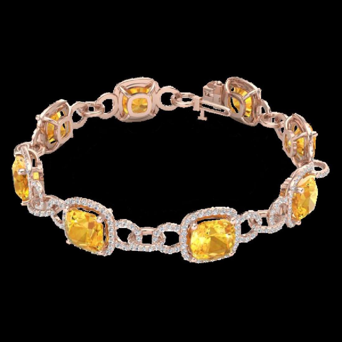 30 CTW Citrine & Micro VS/SI Diamond Bracelet 14K Rose - 2