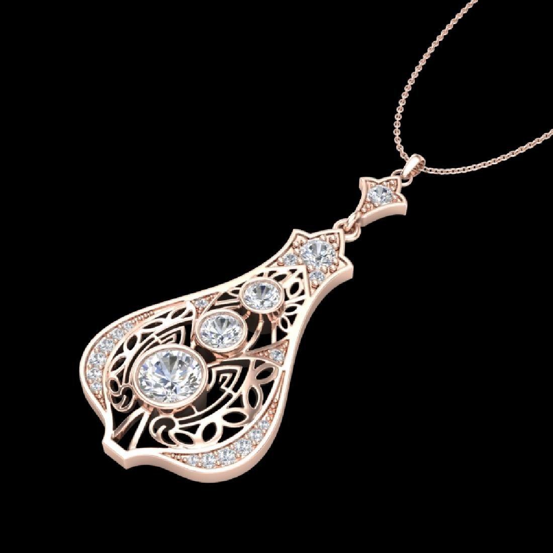 1.75 CTW VS/SI Diamond Solitaire Art Deco Stud Necklace - 2