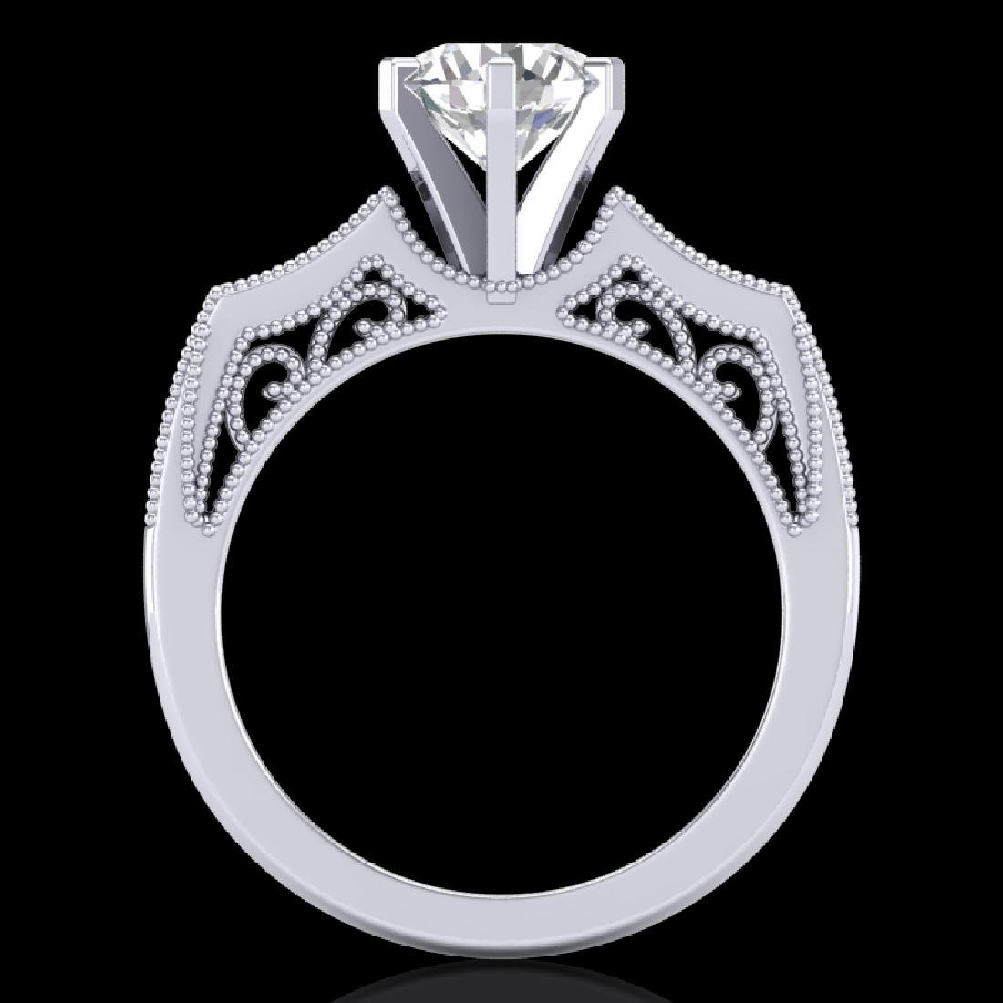 1.51 CTW VS/SI Diamond Solitaire Art Deco Ring 18K - 2