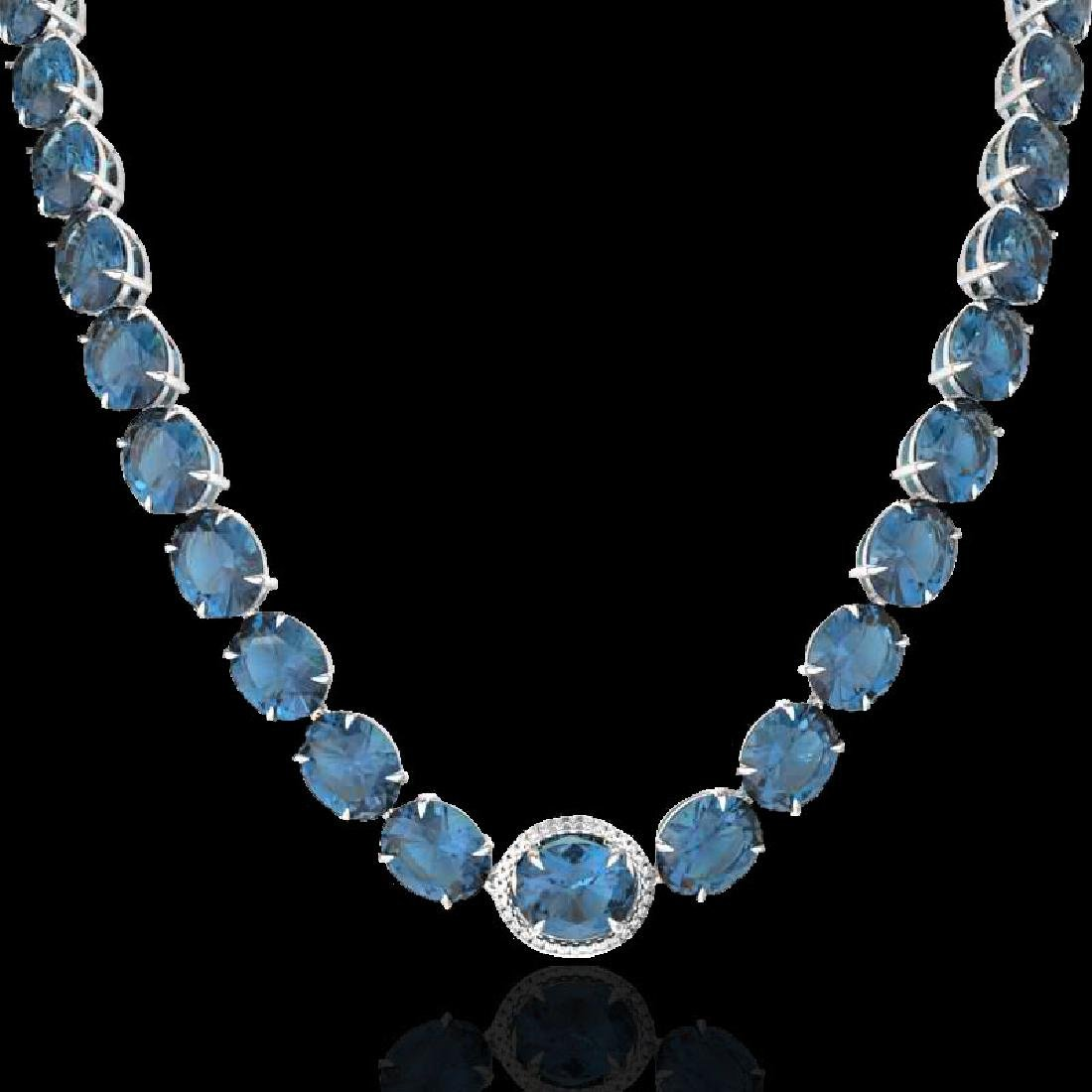 177 CTW London Blue Topaz & VS/SI Diamond Halo Micro - 2