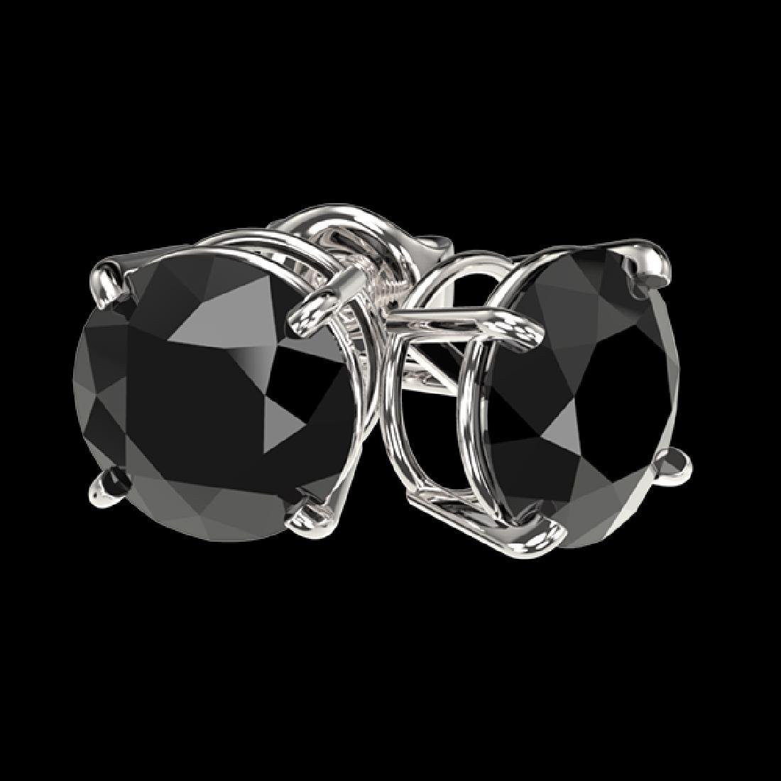 2.13 CTW Fancy Black VS Diamond Solitaire Stud Earrings - 3